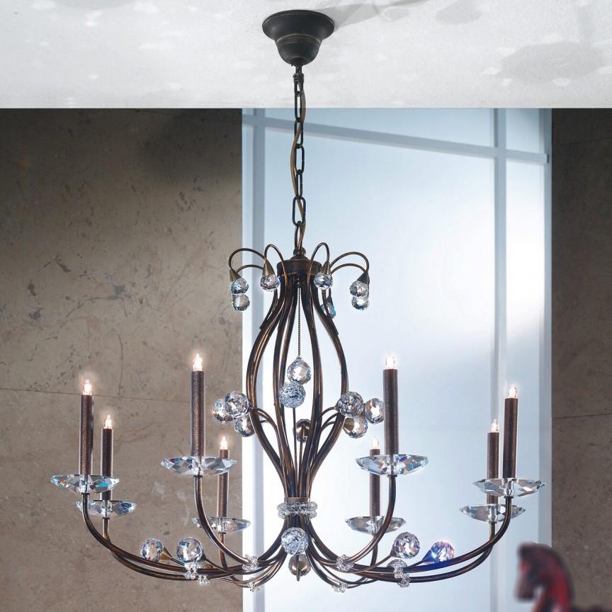 Candelabru elegant de lux cristal Swarovski Eremitage 8L antique, Cele mai noi produse 2021 a