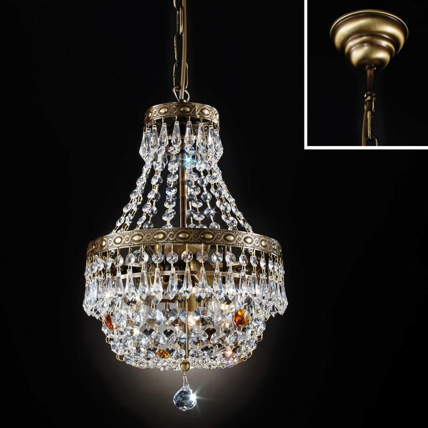 Lustra suspendata cristal Schöler design de lux Sheraton 25cm, antique brass, Cele mai noi produse 2021 a