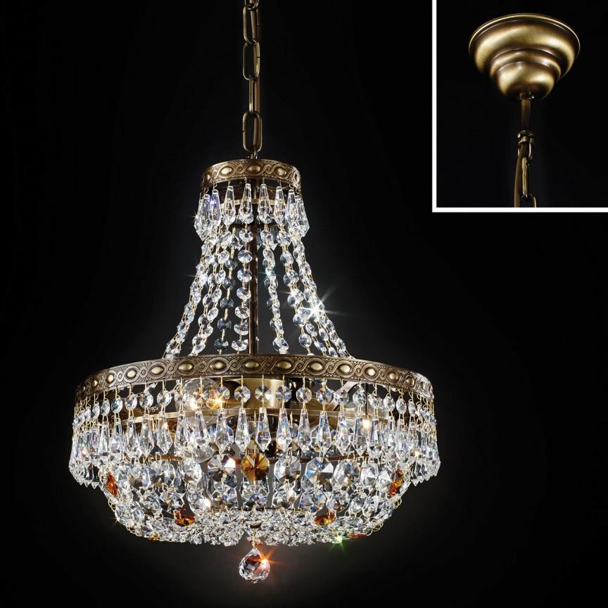 Lustra suspendata cristal Schöler design de lux Sheraton 35cm, antique brass, Cele mai noi produse 2021 a