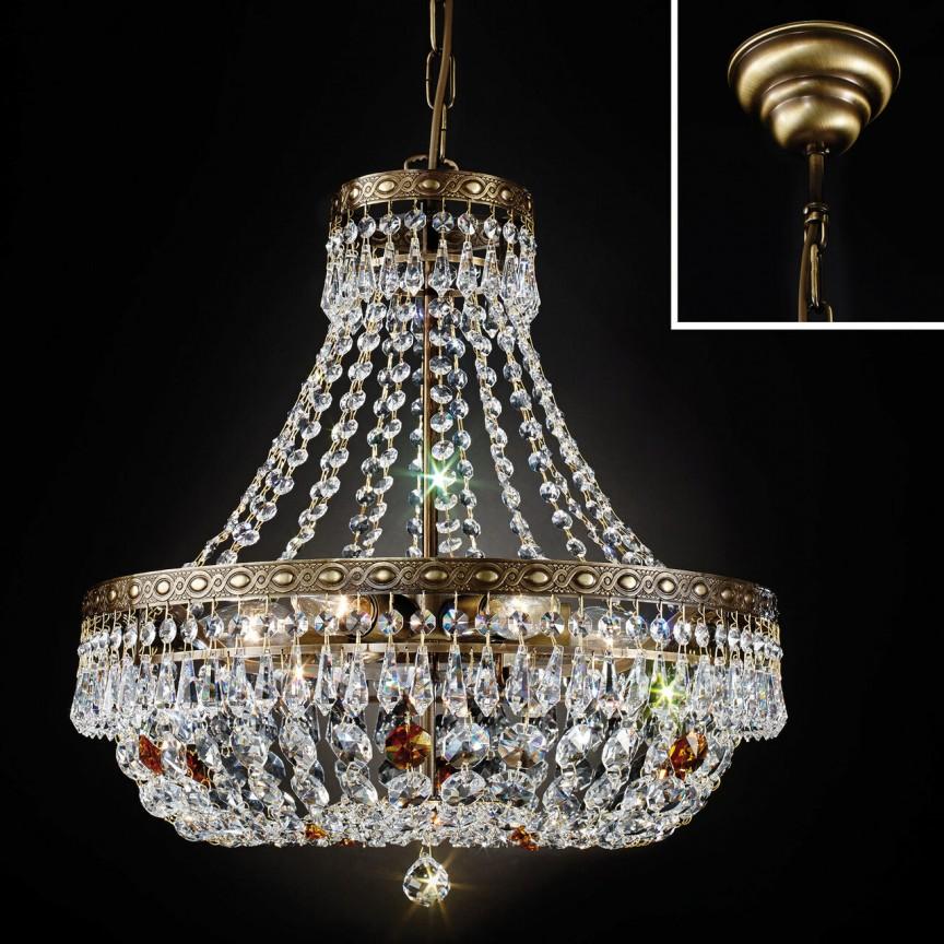 Lustra suspendata cristal Schöler design de lux Sheraton 45cm, antique brass, Cele mai noi produse 2021 a