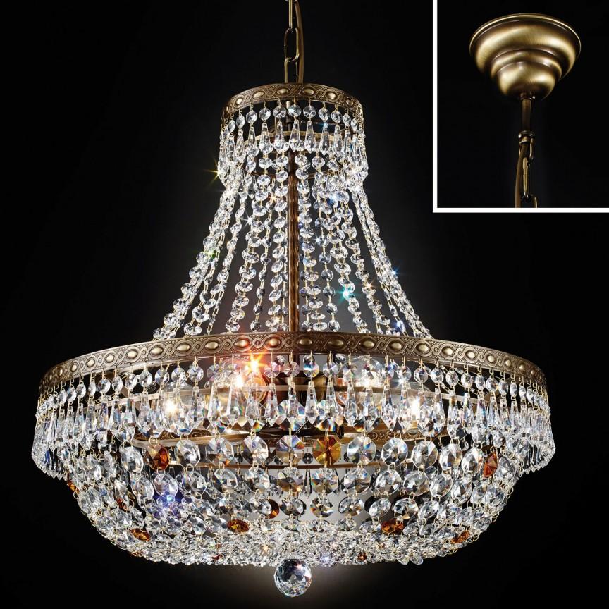 Lustra suspendata cristal Schöler design de lux Sheraton 55cm, antique brass, Cele mai noi produse 2021 a