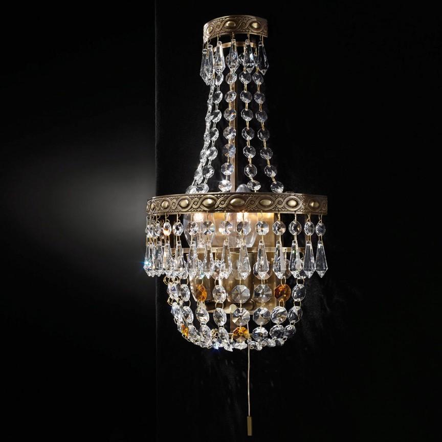 Aplica de perete cristal Schöler design de lux Sheraton 2L, antique brass, Cele mai noi produse 2021 a