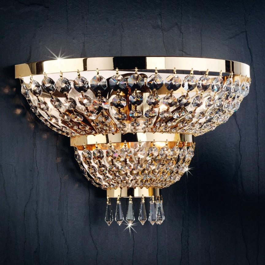 Aplica de perete cristal Schöler design de lux Sheraton 3L, 24K gold plated, Lustre Cristal Scholer⭐ modele de candelabre deosebite stil Baroc din cristal autentic❗ ✅Design unicat Premium Top 2021!❤️Promotii la Lustre cu cristale moderne, clasice, traditionale❗ ➽ www.evalight.ro. Alege oferte la corpuri de iluminat interior decorative suspendate cu brate tip lumanare finisaj colorat, din metal aurii, alama, argintii, cromate, ieftine si de lux, calitate superioara la cel mai bun pret. a