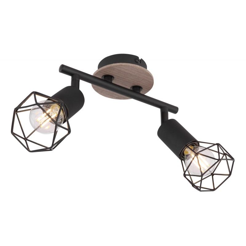 Aplica de perete / tavan moderna cu 2 spoturi XARA I negru/lemn, Aplice aplicate perete sau tavan cu spoturi, LED⭐ modele moderne corpuri de iluminat tip spoturi pe bara.✅Design decorativ 2021!❤️Promotii lampi❗ ➽ www.evalight.ro. Alege oferte aplice de iluminat interior, lustre si plafoniere cu 2 spoturi cu lumina LED si directie reglabila, spot orientabil cu intrerupator, simple si ieftine de calitate la cel mai bun pret. a