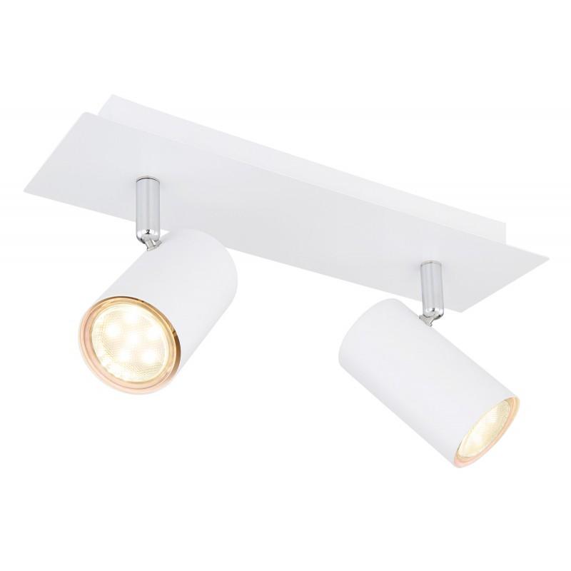 Aplica de perete / tavan moderna cu 2 spoturi ROBBY alba, Aplice aplicate perete sau tavan cu spoturi, LED⭐ modele moderne corpuri de iluminat tip spoturi pe bara.✅Design decorativ 2021!❤️Promotii lampi❗ ➽ www.evalight.ro. Alege oferte aplice de iluminat interior, lustre si plafoniere cu 2 spoturi cu lumina LED si directie reglabila, spot orientabil cu intrerupator, simple si ieftine de calitate la cel mai bun pret. a