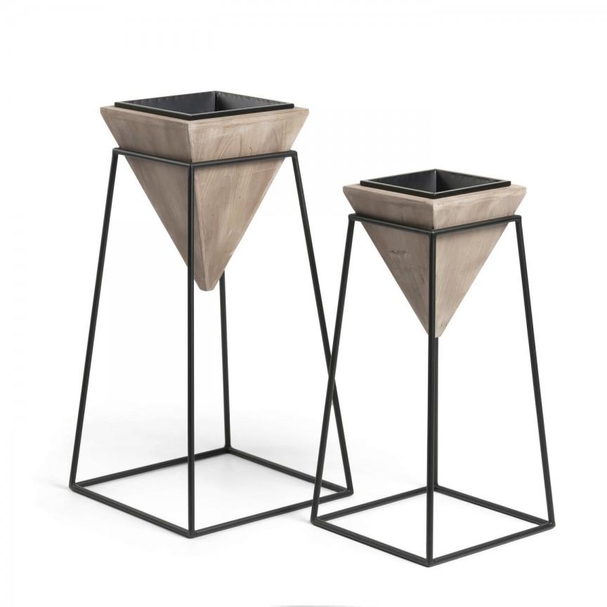 Set de 2 jardiniere din lemn cu baza metalica STAR AA2533M46 JG, Vaze /Ghivece decorative flori /plante, vase,suporturi si jardiniere de interior si exterior⭐modele moderne de lux cu design elegant✅ inalte sau de perete suspendate✅ potrivite pentru aranjamente florale naturale si plante artificiale din living,terasa,balcon,curte si gradina casei.❤️Promotii vaze de flori mari si ghivece ceramica de podea, vase de sticla si portelan, cristal, jardiniere din plastic, beton (ciment), suporti din fier forjat, lemn❗ Intra si vezi  ✚ poze ➽ www.evalight.ro. ➽ sursa ta de inspiratie online❗ Aici gasesti ghivece ornamentale rezistente la soare, pt plante de dimensiuni mari si mici, flori curgatoare si aranjarea in cascada a plantelor, cu sistem inteligent de auto-udare (autoirigare) pentru tuia, orhidee, trandafiri japonezi, produse de calitate superioara cu stil original premium, stil actual la moda in 2021❗ Ideale pt amenajari sali de mese festive (nunti, botezuri), restaurant, bar, terasa, hotel, mobila showroom, casa scarii, pt amenajari, intra ➽vezi oferte si reduceri cu vanzare rapida din stoc, ieftine si de calitate deosebita la cel mai bun pret. a