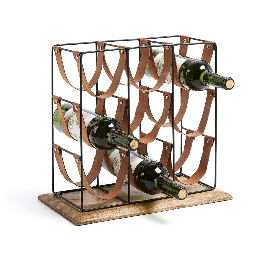 Raft pentru 9 sticle de vin din metal, lemn de mango si piele WINNOE AA3645R01 JG, Mobilier decorativ modern⭐ mobila si decoratiuni interioare de lux cu design Vintage & Retro pentru living si dormitor.❤️Promotii mobila clasica, scandinava, nordica, minimalista, rustica❗ Intra si vezi poze ➽ www.evalight.ro. ➽ sursa ta de inspiratie online❗ ✅ Vezi cele mai noi modele, obiecte si colectii originale premium, stil actual în trend cu moda Top 2020❗ Paravane despartitoare, garderobe si cuiere hol, mese laterale si masute de cafea tip gheridon cu rotile, cufere stil baroc, rafturi Art Deco, dulapuri tip bar, banchete si suporti pt pantofi, din lemn masiv, metalice, accesorii casa, intra ➽vezi oferte si reduceri cu vanzare rapida din stoc, ieftine si de calitate deosebita la cel mai bun pret. a