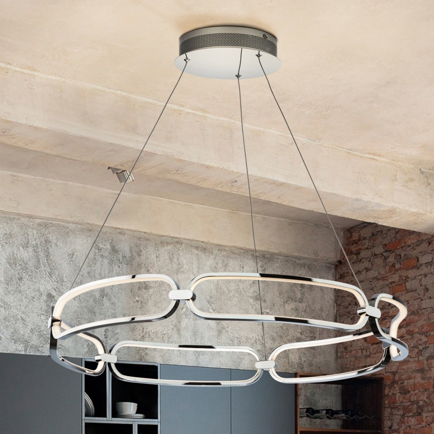 Lustra LED suspendata design ultra-modern, dimabila cu telecomanda, Ø80cm Colette crom, Cele mai noi produse 2021 a