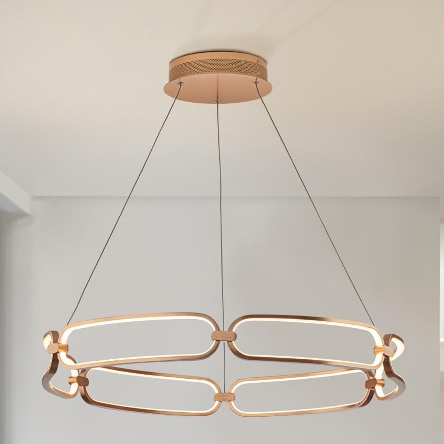 Lustra LED suspendata design ultra-modern, dimabila cu telecomanda, Ø80cm Colette auriu roze, Cele mai noi produse 2021 a