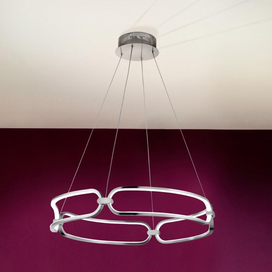 Lustra LED suspendata design ultra-modern, dimabila cu telecomanda, Ø60cm Colette crom, Cele mai noi produse 2021 a