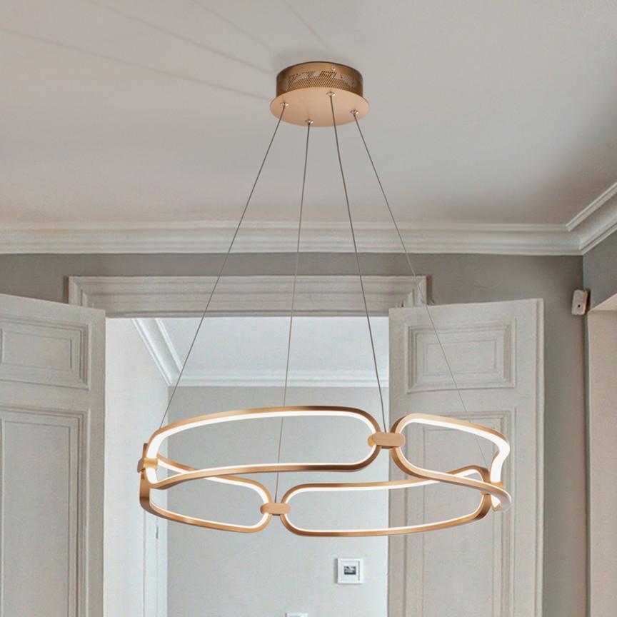 Lustra LED suspendata design ultra-modern, dimabila cu telecomanda, Ø60cm Colette auriu roze, Cele mai noi produse 2021 a