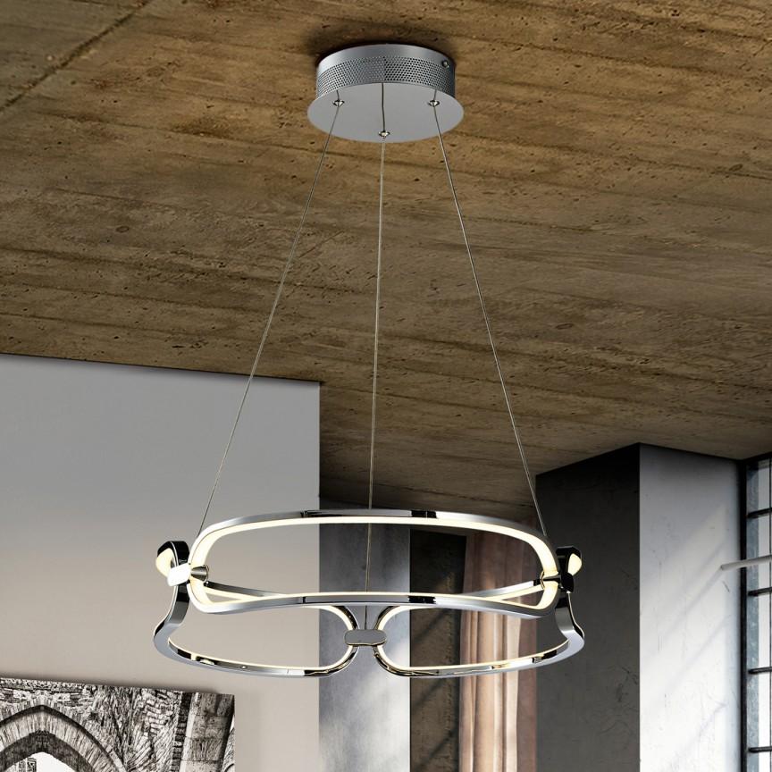 Lustra LED suspendata design ultra-modern, dimabila cu telecomanda, Ø47cm Colette crom, Cele mai noi produse 2021 a