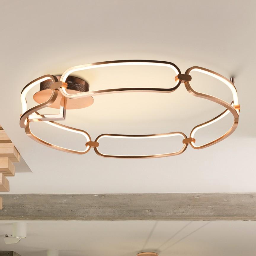 Lustra LED aplicata design ultra-modern, dimabila cu telecomanda, Ø80cm Colette auriu roze, Cele mai noi produse 2021 a