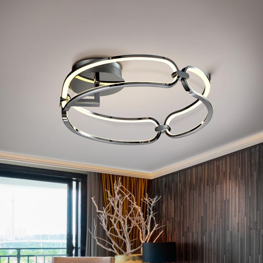 Lustra LED aplicata design ultra-modern, dimabila cu telecomanda, Ø47cm Colette crom, Cele mai noi produse 2021 a