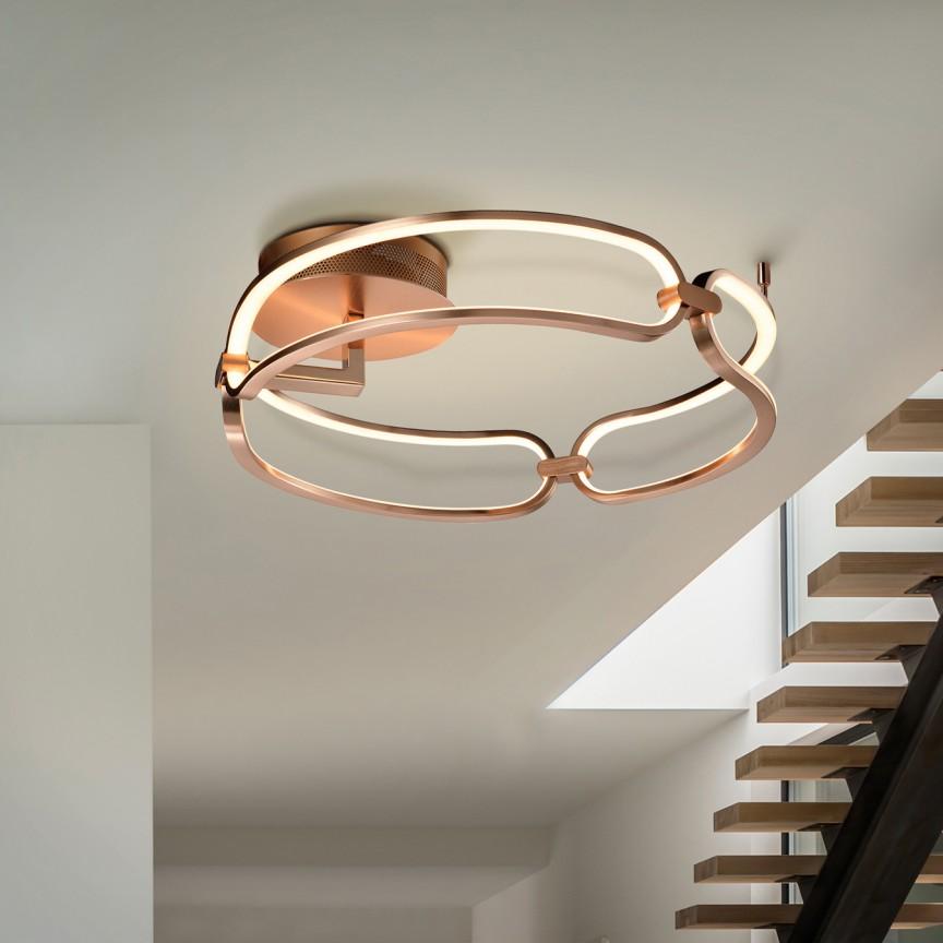 Lustra LED aplicata design ultra-modern, dimabila cu telecomanda, Ø47cm Colette auriu roze, Cele mai noi produse 2021 a