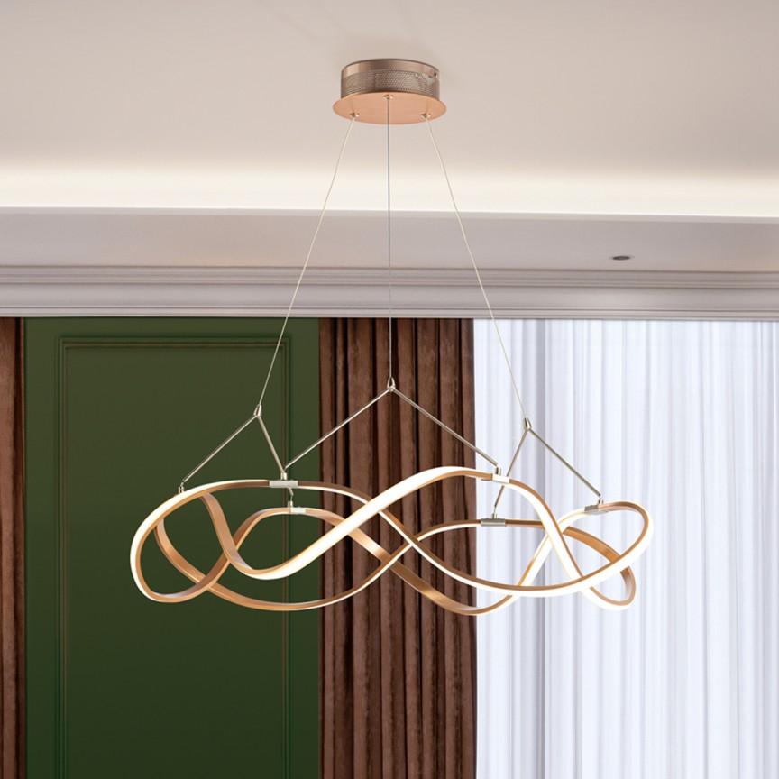 Lustra LED design ultra-modern, dimabila cu telecomanda, Molly auriu roze Ø80cm, Cele mai noi produse 2021 a