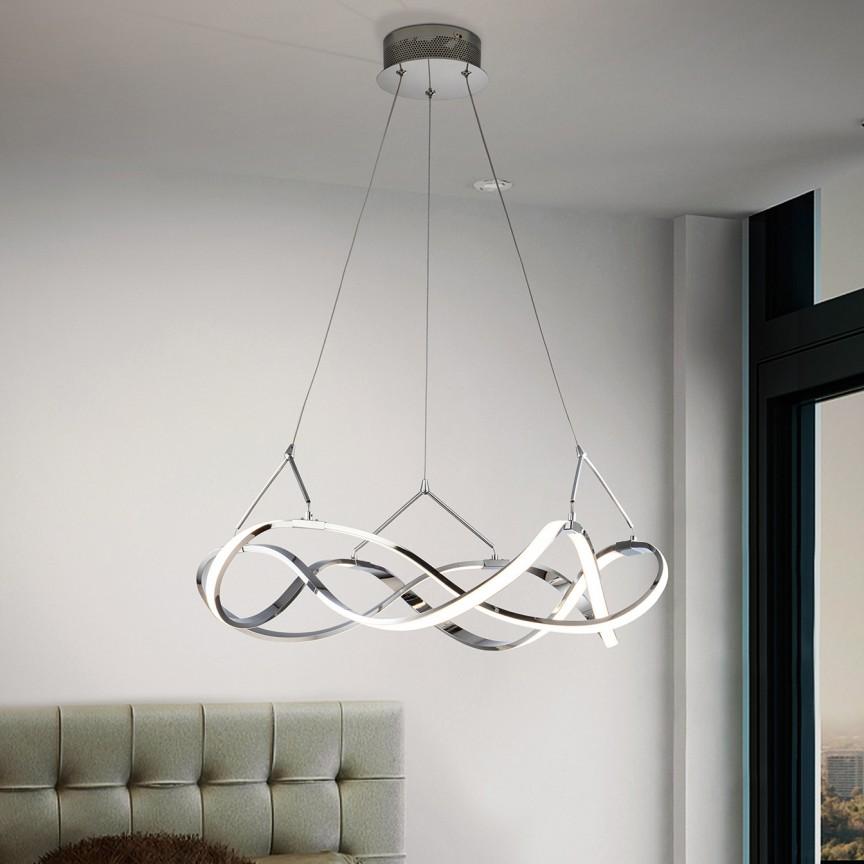 Lustra LED design ultra-modern, dimabila cu telecomanda, Molly crom Ø53cm, Cele mai noi produse 2021 a