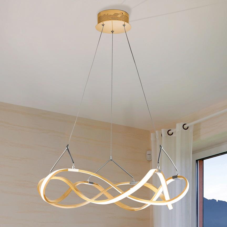 Lustra LED design ultra-modern, dimabila cu telecomanda, Molly auriu roze Ø53cm, Cele mai noi produse 2021 a