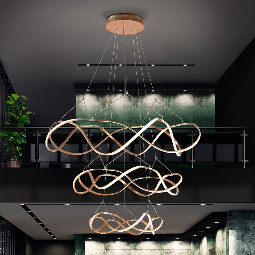 Lustra LED XXL pentru casa scarii, DIMABILA prin BLUETOOTH, Ø110cm Molly auriu roze SV-763455B, Lustre si corpuri de iluminat pentru casa scarii⭐ candelabre mari elegante de lux, decorate cu cristale, stil modern.✅DeSiGn decorativ 2021❗ Magazin ➽ www.evalight.ro. Alege oferte la colectile NOI de corpuri de iluminat interior suspendate de tip suspensii, modele potrivite pt HoReCa (hotel, receptie restaurant, pensiune, bar), spatii comerciale sau case spatioase cu tavan înalt, calitate deosebita la cel mai bun pret. a