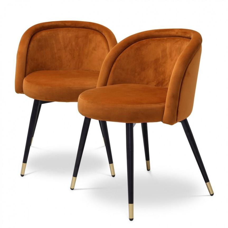 Set de 2 scaune design LUX Chloe, portocaliu 115964 HZ, Seturi scaune dining si scaune HoReCa⭐ modele la set scaune tapitate moderne de lux pentru bucatarie, living si sufragerie.✅DeSiGn Top 2021❗ Magazin online ➽www.evalight.ro. Alege oferte la scaune elegante stil vintage, cadru metalic sau din lemn pt hotel si de restaurant, bar, cafenea, terasa si gradina, ieftine de calitate deosebita la cel mai bun pret. a