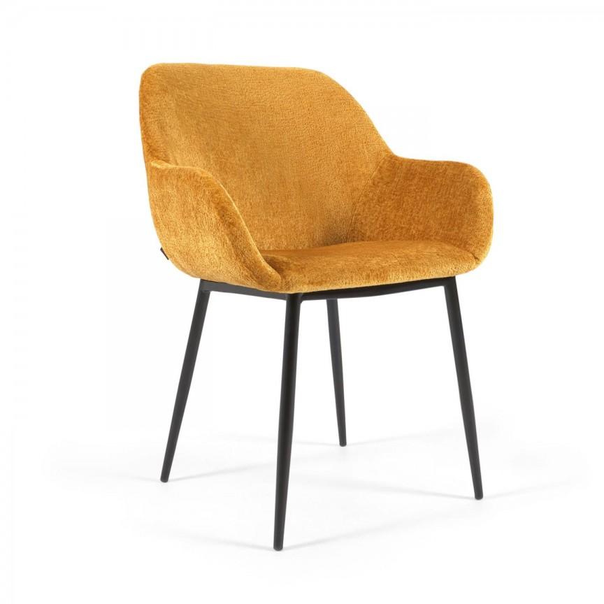 Scaun cu brate design modern KONNA tesatura chenille galben mustar, Cele mai noi produse 2021 a