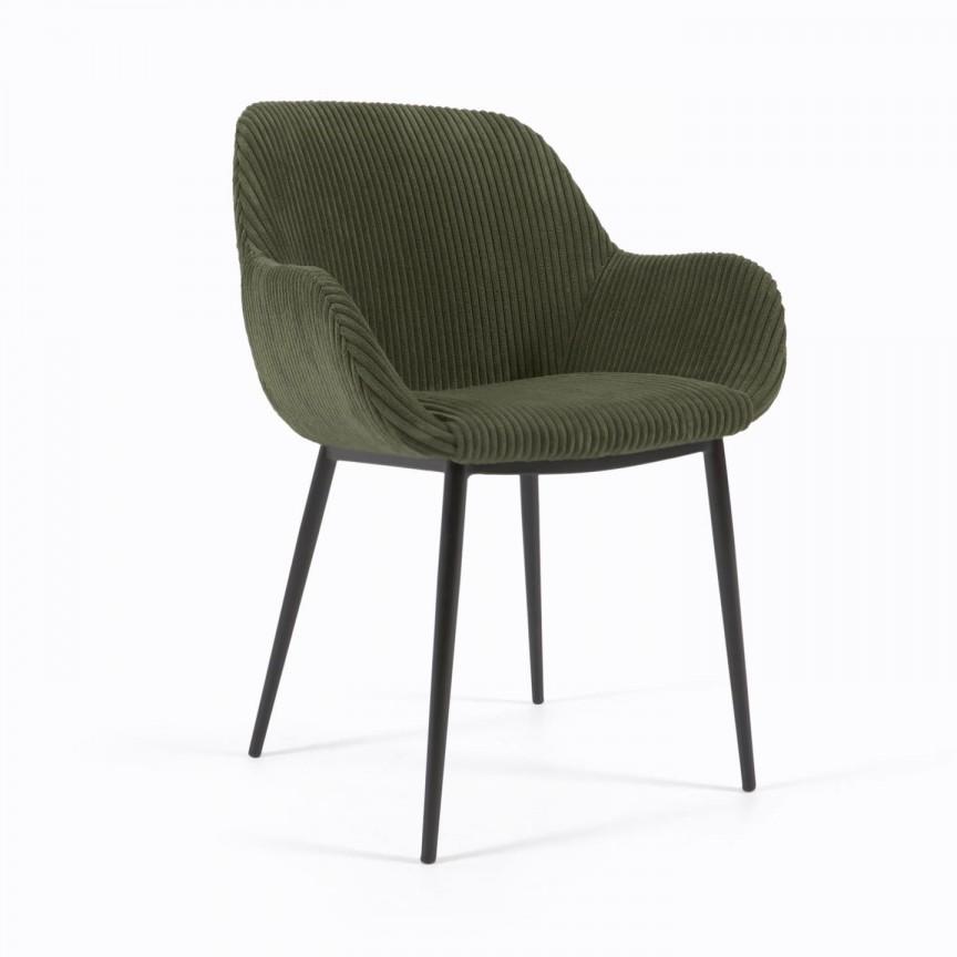 Scaun cu brate design modern KONNA catifea raiata verde inchis, Cele mai noi produse 2021 a