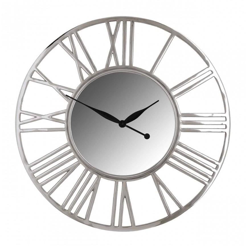 Ceas de perete din metal si oglinda Danell round silver 81cm, Cele mai noi produse 2021 a
