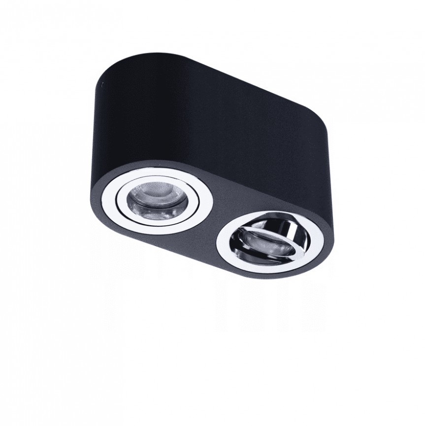 Spot aplicat tavan/plafon stil modern Brant 2 negru/crom, Cele mai noi produse 2021 a