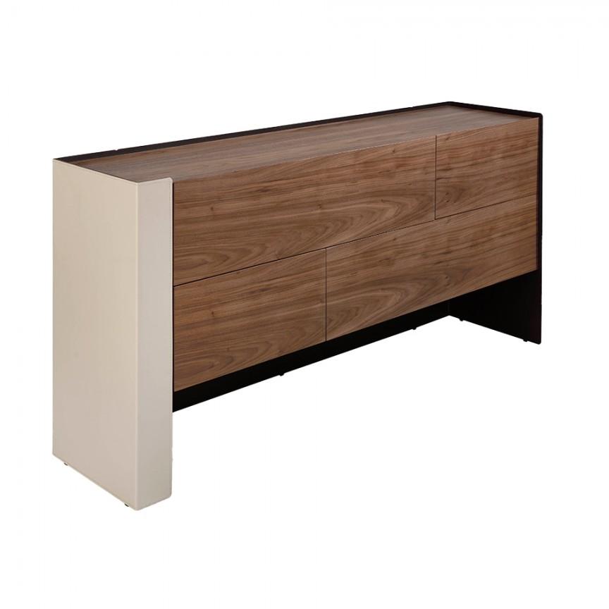 Comoda cu 4 sertare, furnir din lemn de nuc si piele reciclata, Anna, Cele mai noi produse 2021 a