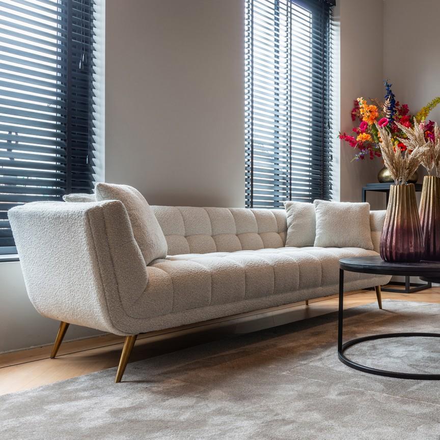 Canapea fixa design modern Huxley White Boucle, Cele mai noi produse 2021 a
