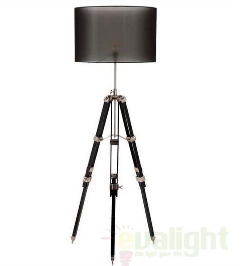Lampa de podea cu trepied, inaltime reglabila, finisaj pewter si lemn, Bridgeport 104018 HZ, Lampadare clasice, Corpuri de iluminat, lustre, aplice a