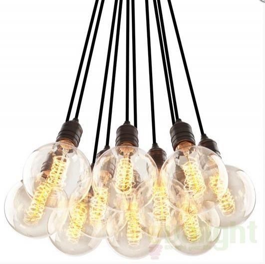 Lustra cu 10 pendule, Vintage Bulb Holder 10-Light 108627 HZ, NOU ! Lustre VINTAGE, RETRO, INDUSTRIA Style,  a