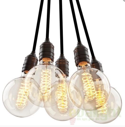 Lustra cu 5 pendule, Vintage Bulb Holder 5-Light 108626 HZ, NOU ! Lustre VINTAGE, RETRO, INDUSTRIA Style,  a