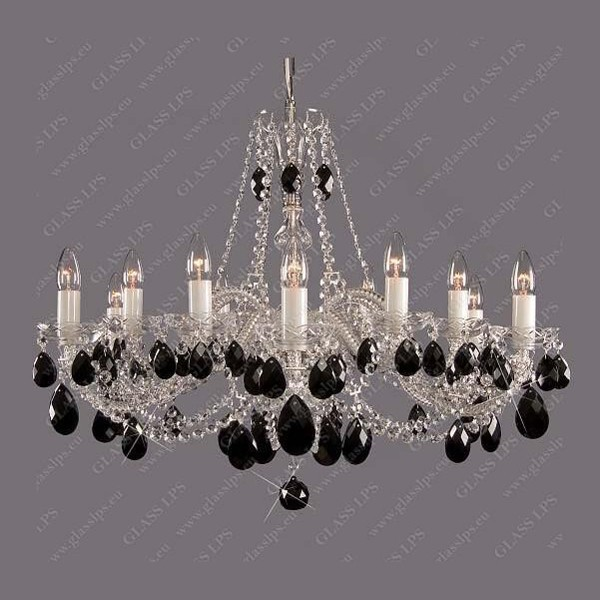 Lustra 12 brate cristal Bohemia  L11 120/12/1 black; Ni, Lustre Cristal Bohemia, Corpuri de iluminat, lustre, aplice a