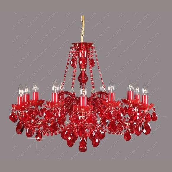 Lustra 12 brate cristal Bohemia L11 120/12/1 all ruby, Lustre Cristal Bohemia, Corpuri de iluminat, lustre, aplice a