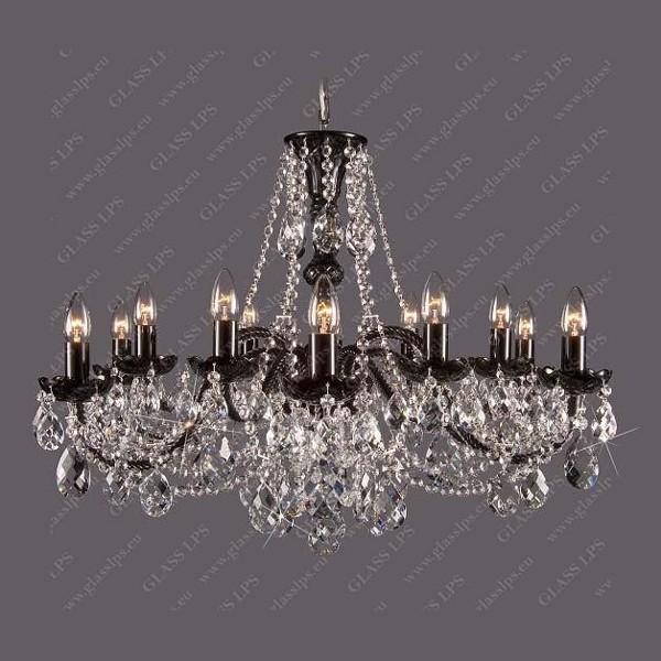 Lustra 12 brate cristal Bohemia L11 120/12/1; F black, Ni, Lustre Cristal Bohemia, Corpuri de iluminat, lustre, aplice, veioze, lampadare, plafoniere. Mobilier si decoratiuni, oglinzi, scaune, fotolii. Oferte speciale iluminat interior si exterior. Livram in toata tara.  a