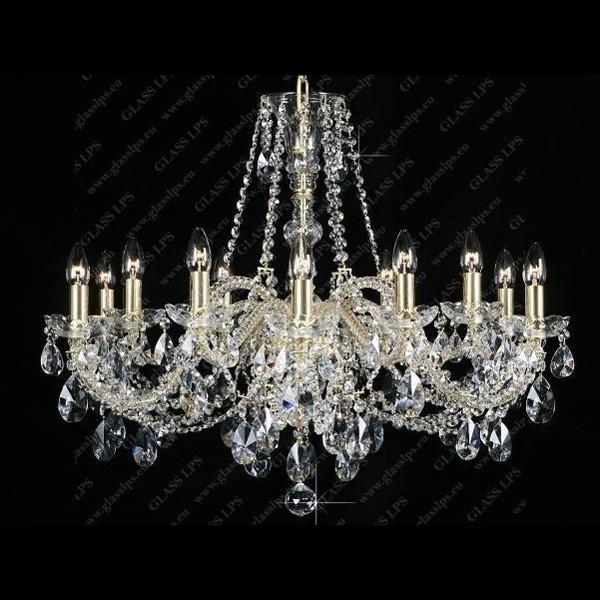 Lustra 12 brate cristal Bohemia L11 120/12/1-A; GOLD, Lustre Cristal Bohemia, Corpuri de iluminat, lustre, aplice, veioze, lampadare, plafoniere. Mobilier si decoratiuni, oglinzi, scaune, fotolii. Oferte speciale iluminat interior si exterior. Livram in toata tara.  a