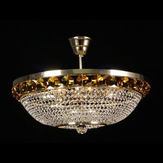 Plafonier cristal Bohemia color diametru 50cm metal Gold, Plafoniere Cristal Bohemia, Corpuri de iluminat, lustre, aplice a