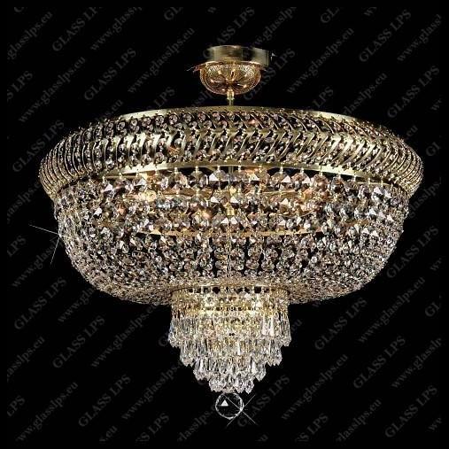 Plafonier cristal Bohemia diametru 58cm metal Gold, Plafoniere Cristal Bohemia, Corpuri de iluminat, lustre, aplice a