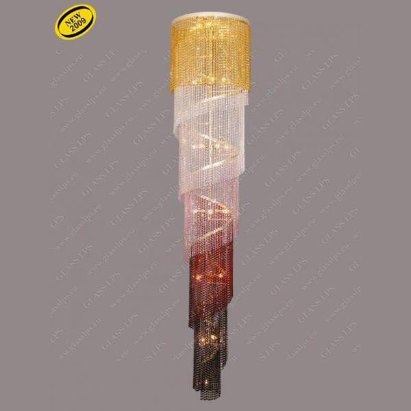 Lustra spirala lungime 200cm color mix L15 512/20/6, Pendule Cristal Bohemia, Corpuri de iluminat, lustre, aplice a