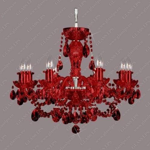 Lustra 8 brate cristal Bohemia L11 009/08/1-A all ruby; Ni, lip. , Candelabre, Lustre Cristal Bohemia, Corpuri de iluminat, lustre, aplice, veioze, lampadare, plafoniere. Mobilier si decoratiuni, oglinzi, scaune, fotolii. Oferte speciale iluminat interior si exterior. Livram in toata tara.  a