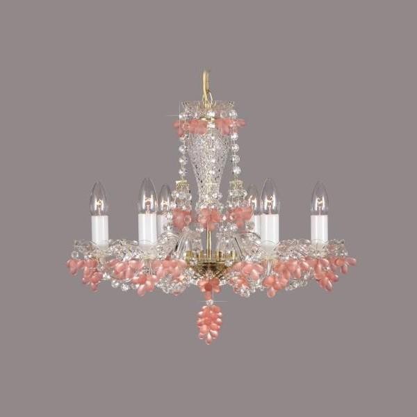 Lustra 6 brate cristal Boemia L11 005/06/7 rosaline mat, Magazin, Corpuri de iluminat, lustre, aplice a