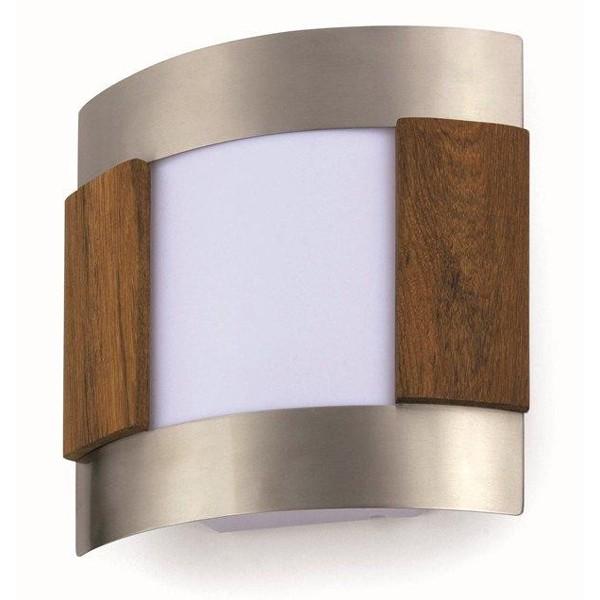 Aplica de perete exterior nickel matt+lemn,  IP44 Steel-2 72244, Aplice de exterior clasice, rustice, traditionale, Corpuri de iluminat, lustre, aplice a