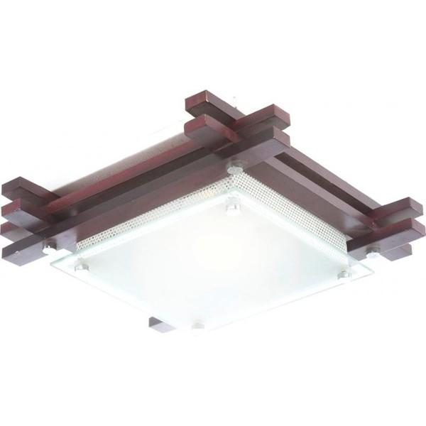Plafonier cu lemn inchis 27x27cm Edison 48324 GL, Plafoniere, Spots, Corpuri de iluminat, lustre, aplice a