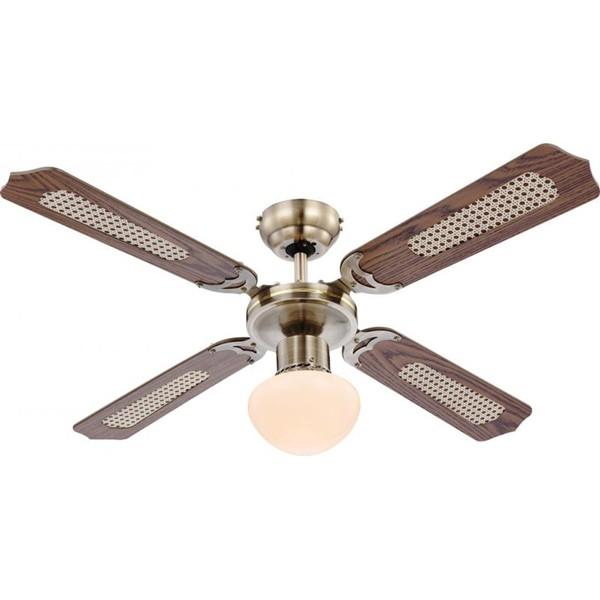 Lustra Ventilator cu palete ventilatie in doua culori Champion 0309 GL, Lustra cu Ventilator, Corpuri de iluminat, lustre, aplice a