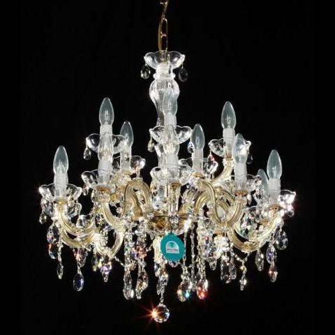 Lustra cristal Swarovski 15 brate auriu diam. 63cm Laura, Lustre Cristal Swarovski , Corpuri de iluminat, lustre, aplice a