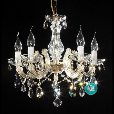 Lustra Swarovski 5 brate auriu Luisa, Lustre Cristal Swarovski , Corpuri de iluminat, lustre, aplice a