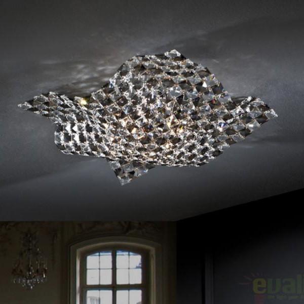 Plafonier modern cristal K9 dim.40x40cm Saten 160563, PROMOTII, Corpuri de iluminat, lustre, aplice, veioze, lampadare, plafoniere. Mobilier si decoratiuni, oglinzi, scaune, fotolii. Oferte speciale iluminat interior si exterior. Livram in toata tara.  a