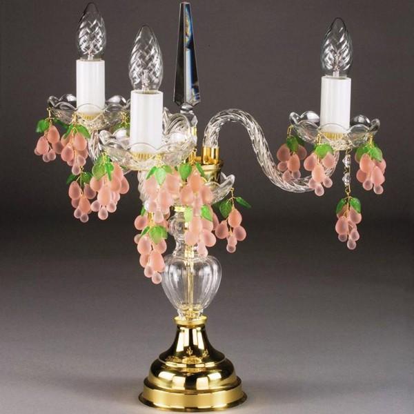 Veioza cristal Bohemia Marketa III. rozalin TL CE, Veioze Cristal Bohemia, Corpuri de iluminat, lustre, aplice a