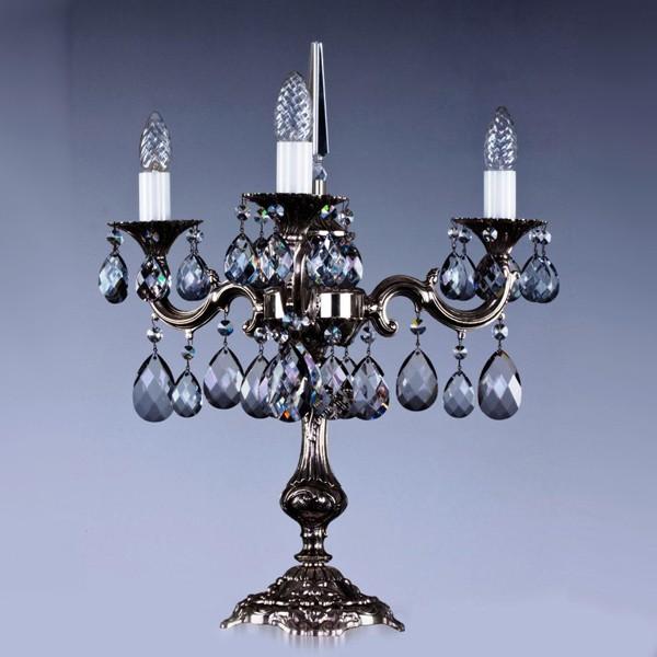 Veioza, lampa de masa cristal Bohemia SONA III. nickel antique 8006 TL CE, Veioze Cristal Bohemia, Corpuri de iluminat, lustre, aplice a